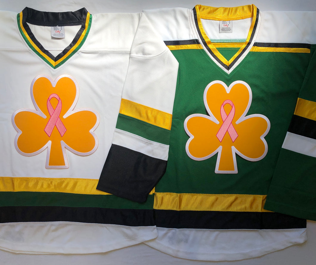 Custom hockey jerseys with 3 Leaf Clover embroidered twill crest