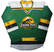 Load image into Gallery viewer, Custom hockey jerseys with the Jurassic Pucks logo