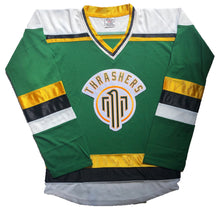 Load image into Gallery viewer, Custom hockey jerseys with the Thrashers team logo.