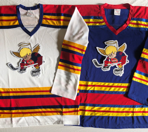 Custom hockey jersey with Saints team logo.