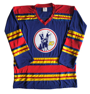 Custom hockey jerseys with the Scouts embroidered twill team logo.