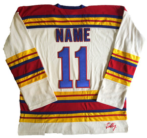 Custom hockey jerseys with the Brass Monkeys logo