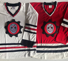 Load image into Gallery viewer, Custom hockey jersey with Scar Goalie Mask embroidered twill team logo.