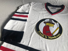Load image into Gallery viewer, Custom hockey jerseys with the Puck'N Monkeys logo