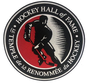 The embroidered twill Hockey Hall of Fame logo