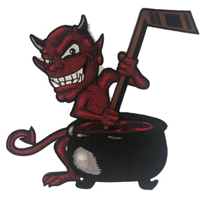 Devil with Cauldron embroidered twill logo