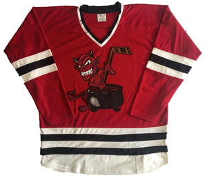 Custom hockey jerseys with Devil with Cauldron embroidered twill crest