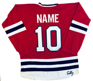 Custom hockey jerseys with a Van Halen team logo.