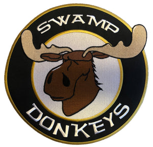 The Swamp Donkeys embroidered twill team logo.