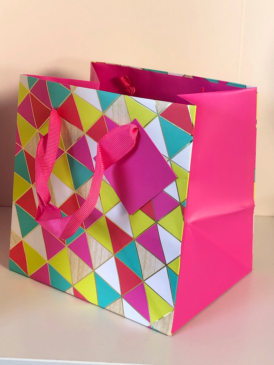 Gift Bag | Neon Pink & Lime Triangle