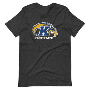 Kent State University Golden Flashes 3 color Eagle t-shirt short sleeve navy t-shirt, unisex fit. Comfortable and ultra-soft feeling. Tear-away label, retail fit.