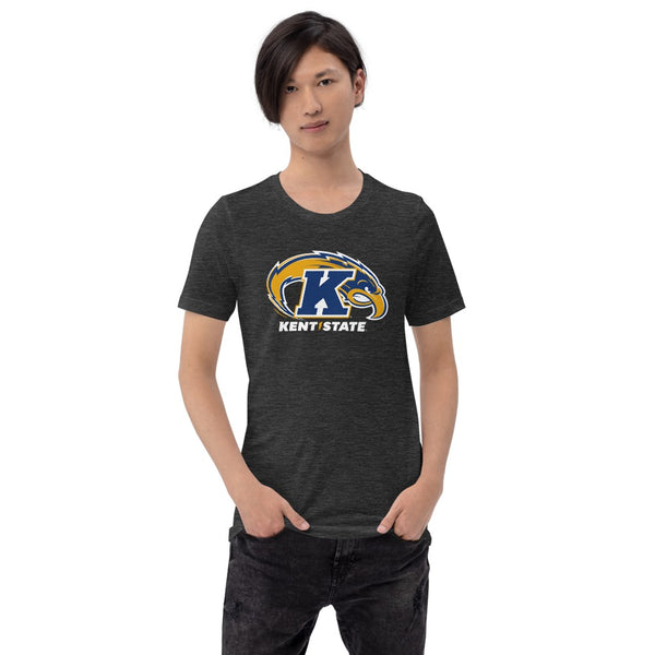 Man wearing Kent State University Golden Flashes 3 color Eagle t-shirt short sleeve navy t-shirt, unisex fit. Comfortable and ultra-soft feeling. Tear-away label.