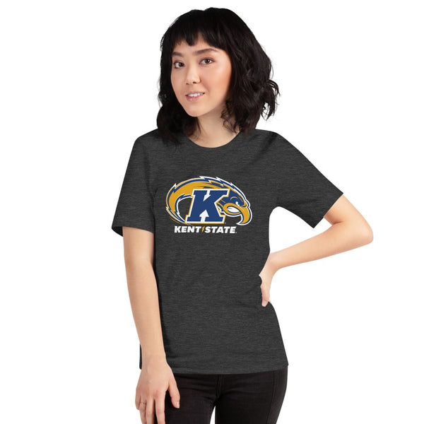 Woman wearing Kent State University Golden Flashes 3 color Eagle t-shirt short sleeve navy t-shirt, unisex fit. Comfortable and ultra-soft feeling. Tear-away label.