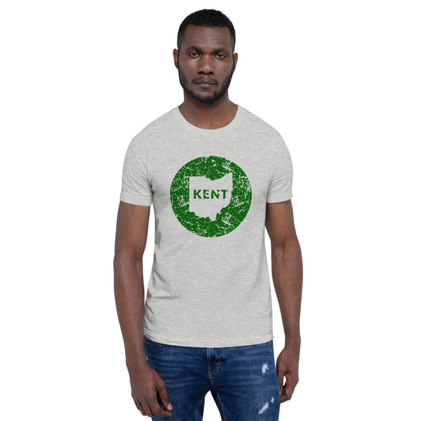 Man wearing Kent, Ohio distressed Kent in State short sleeve navy t-shirt, unisex fit. Comfortable and ultra-soft feeling. Tear-away label.