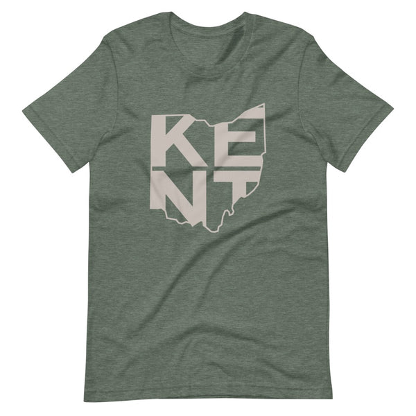 Kent, Ohio Kent inside State short sleeve navy t-shirt, unisex fit. Comfortable and ultra-soft feeling. Tear-away label, retail fit.