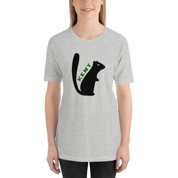 Woman wearing Kent, Ohio black squirrel  t-shirt short sleeve navy t-shirt, unisex fit. Comfortable and ultra-soft feeling. Tear-away label.