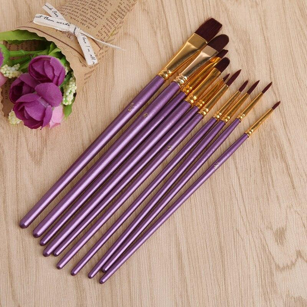 10Pcs Purple Paint Brush Set - World Paint by Numbers™ Accessories