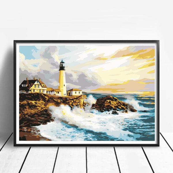 Bay Lighthouse - World Paint by Numbers™ Kits DIY
