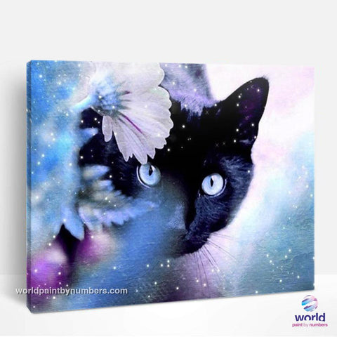 Black Cat in Snowy Garden - World Paint by Numbers™ Kits DIY