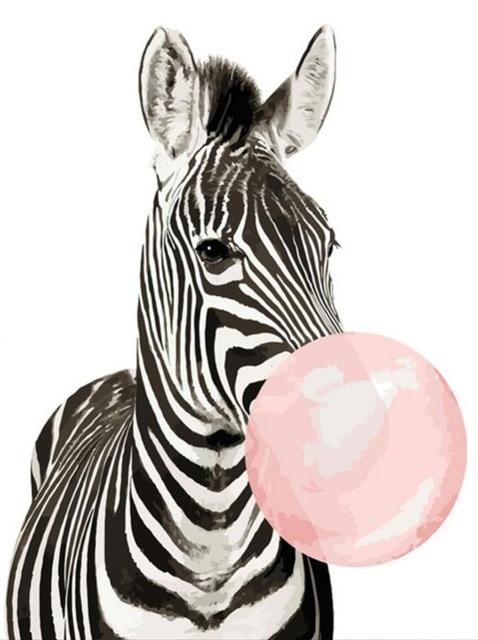 Bubble Gum Zebra - World Paint by Numbers™ Kits DIY