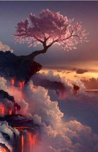 Cherry Tree on Volcano and Clouds - World Paint by Numbers™ Kits DIY