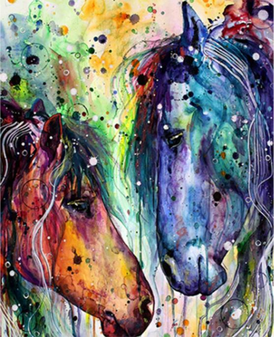 Colorful Horse and Mare - World Paint by Numbers™ Kits DIY