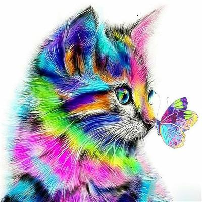 Colorful Kitten & Butterfly - World Diamond Painting™ 5D DIY