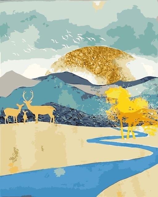 Deer Family Summer - World Paint by Numbers™ Kits DIY