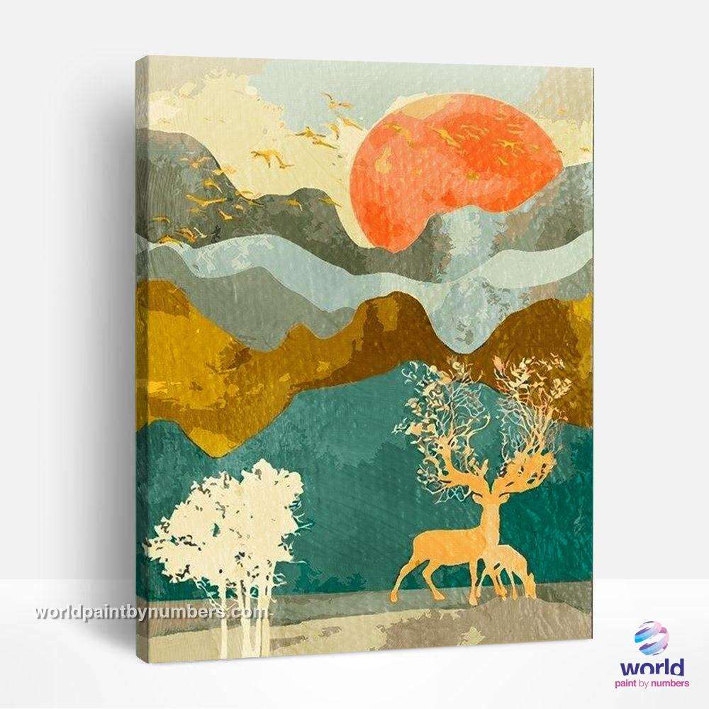 Deer Tree in a Orange Summer - Summer Layers Collection - World Paint by Numbers™ Kits DIY