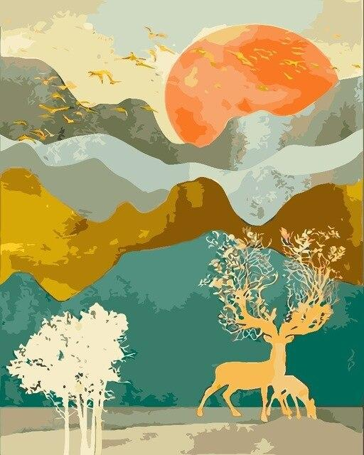 Deer Tree in a Orange Summer - World Paint by Numbers™ Kits DIY