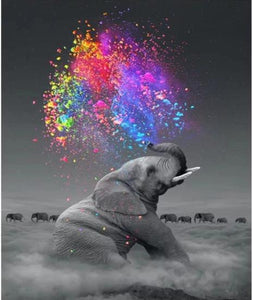 Elephant Happiness Water Explosion - World Paint by Numbers™ Kits DIY