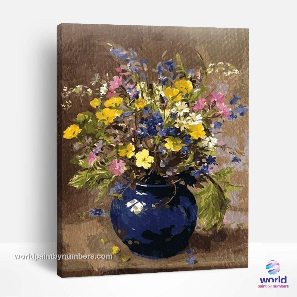 Field Flowers in Purple Vase - World Paint by Numbers™ Kits DIY
