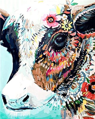 Hipster Cow - World Paint by Numbers™ Kits DIY