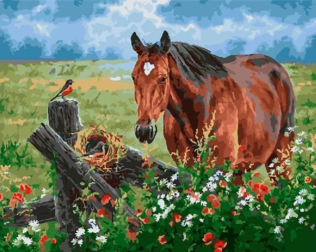 Horse, Bird and Flowers - World Paint by Numbers™ Kits DIY
