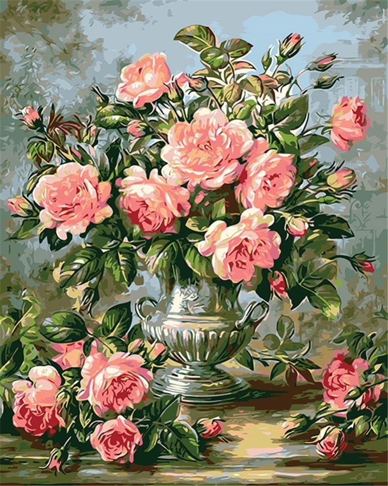 Light Pink Roses - World Paint by Numbers™ Kits DIY