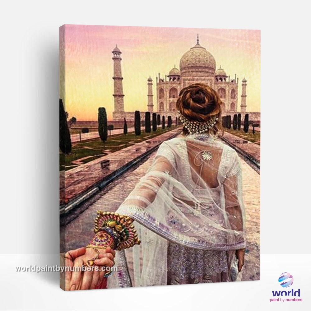Love at the Taj Mahal India - World Paint by Numbers™ Kits DIY