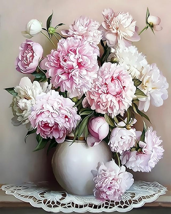 Pink European Flowers - World Paint by Numbers™ Kits DIY