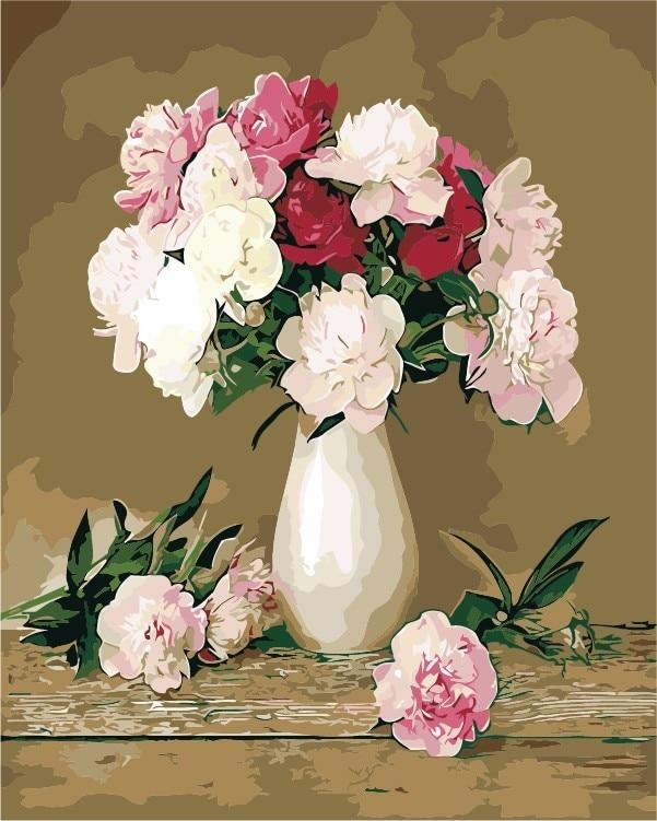 Pink Flowers in Vase - World Paint by Numbers™ Kits DIY