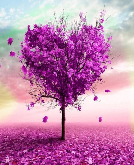 Purple Heart Tree - World Paint by Numbers™ Kits DIY