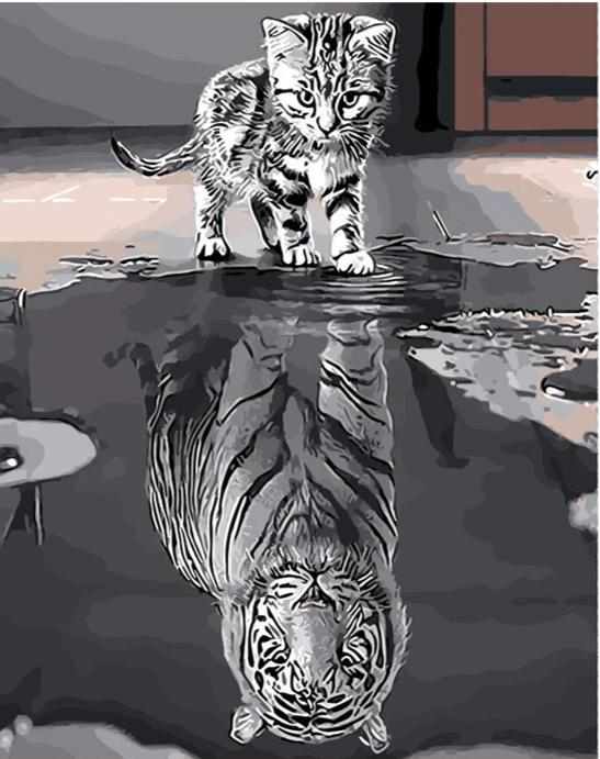 Reflection Cat Tiger - World Paint by Numbers™ Kits DIY