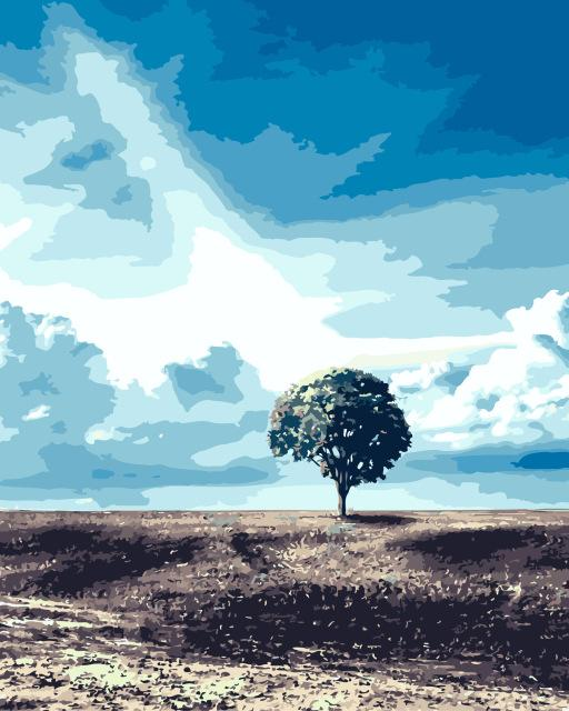 Robust Tree and Blue Sky - World Paint by Numbers™ Kits DIY