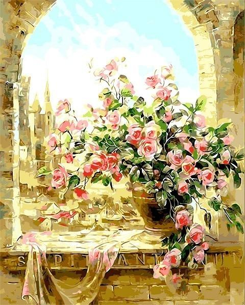 Roses on the ledge - World Paint by Numbers™ Kits DIY