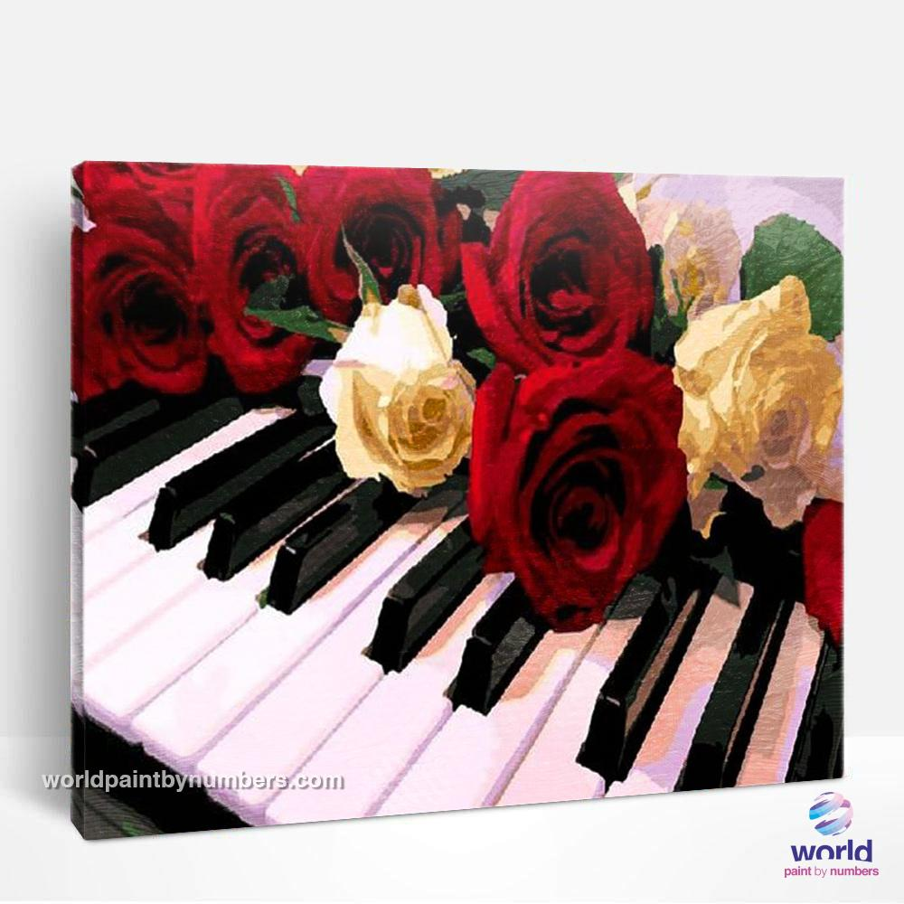 Roses on the Piano - World Paint by Numbers™ Kits DIY