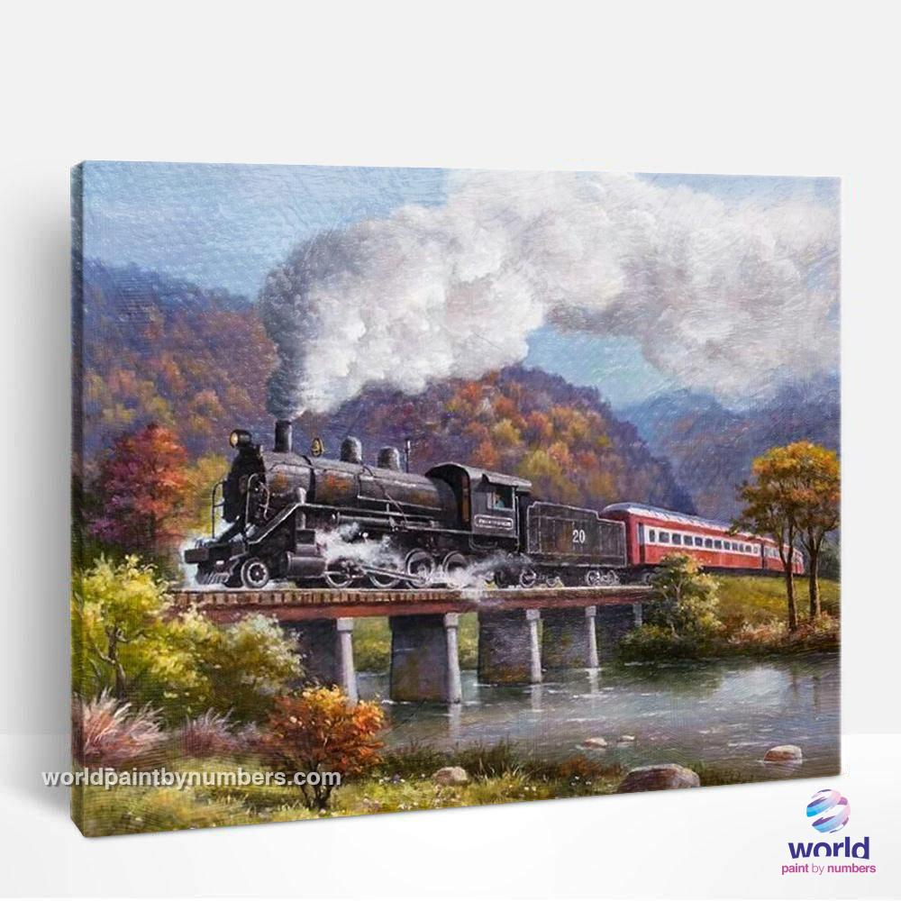 Steam Train through the Mountains - World Paint by Numbers™ Kits DIY