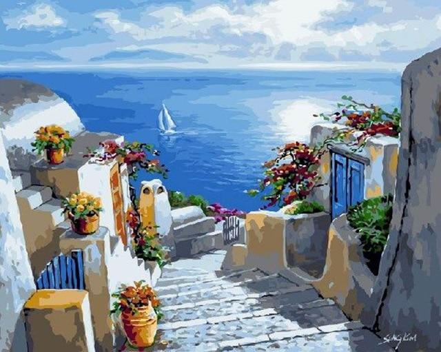 Summer in Santorini, Greece - World Paint by Numbers™ Kits DIY