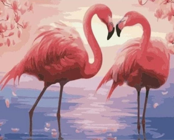 Sunset Flamingos Couple - World Paint by Numbers™ Kits DIY