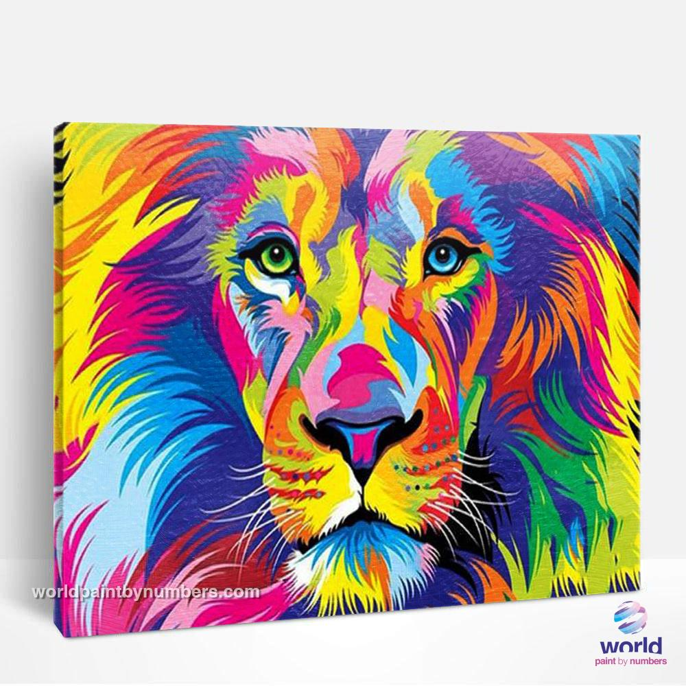 Super Colored Lion - World Paint by Numbers™ Kits DIY