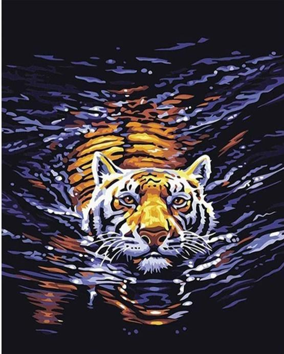 Swimming Tiger - World Paint by Numbers™ DIY Kit