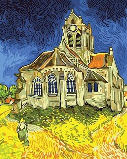 The Church at Auvers by Vicent Van Gogh - World Paint by Numbers™ Kits DIY