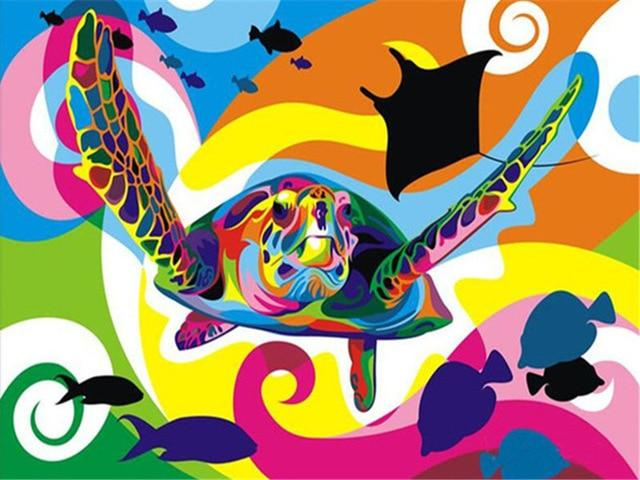 Turtle in the Colorful Sea - World Paint by Numbers™ Kits DIY